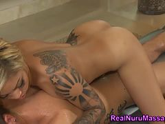 Tattooed asian massage ho