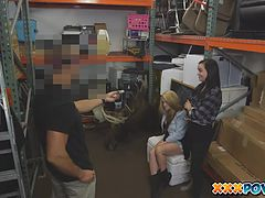 Threesome in pawn shop end with sperm shower over two lesbian girls