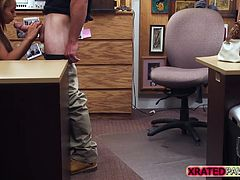 Busty Gunner Girl gets pawned inside her pussy in the pawn shop office