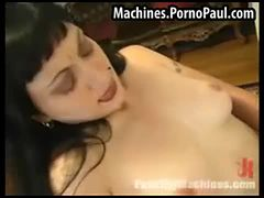 Goth babe fucked by machines