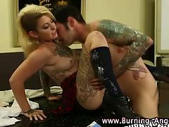 Punk gets weird pussy and ass play