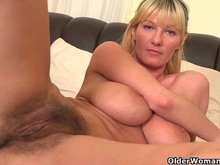Mature and hairy masturbation
